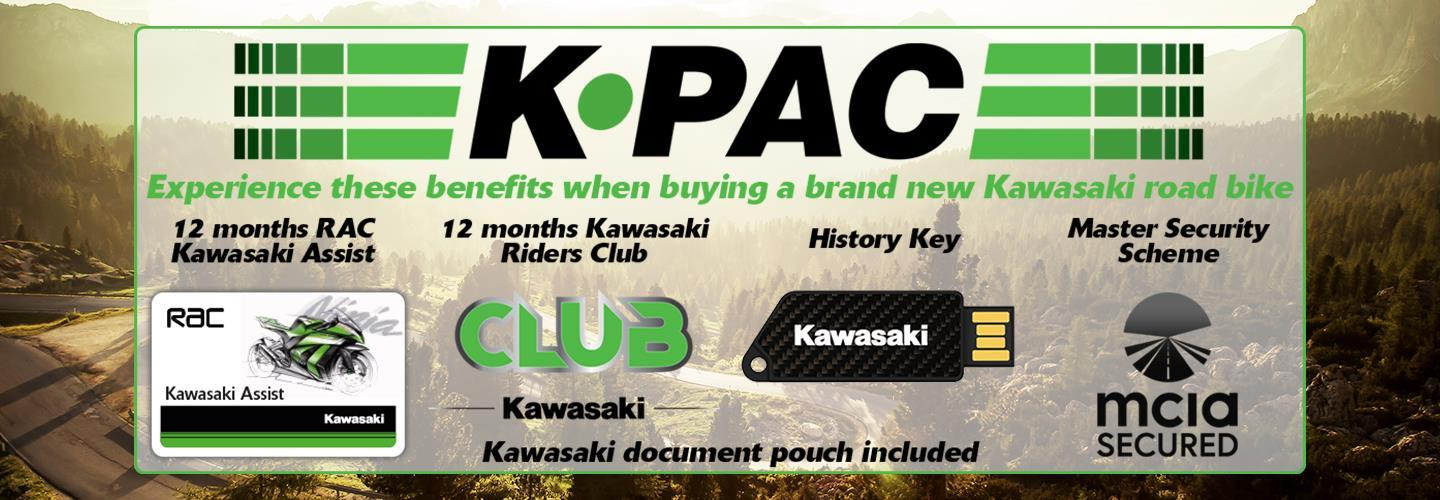 Every new Kawasaki Road Bike comes with added value and a host of benefits we call K.PAC