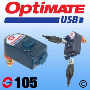 OptiMate Dual USB Charger 3300mA - DIN Plug - Angled