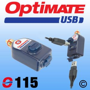 OptiMate Dual USB Charger 3300mA - DIN Plug - Straight