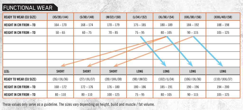 Size Guide - KTM - Functional