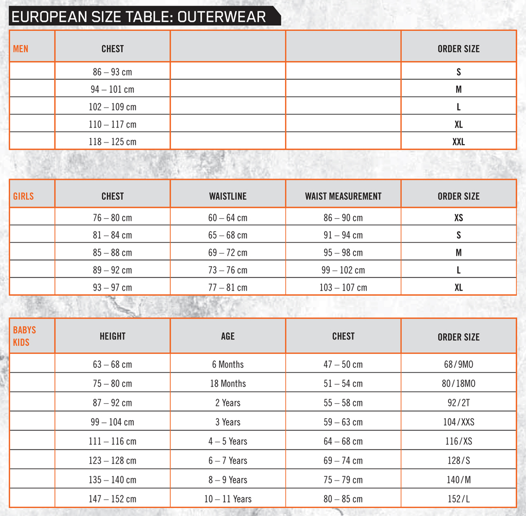 Size Guide - KTM - Outerwear