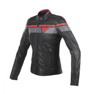 Dainese Blackjack Ladies Leather Motorcycle Jacket - Black / Grey / Red