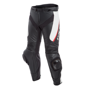 Dainese Delta 3 Leather Motorcycle Jeans - Black/White/Red