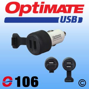 OptiMate O106 Double USB Charger - Cigarette Lighter Plug