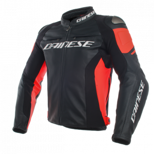 Dainese Racing 3 Leather Motorcycle Jacket - Black/Red
