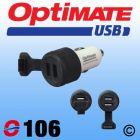 OptiMate O106 Double USB Charger - Cigarette Lighter Plug